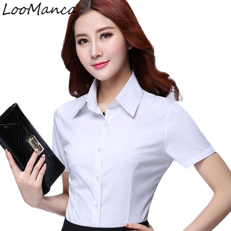759e787f4ab7 € 6.64 19% de DESCUENTO|Moda mujer camisa de manga corta 2019 nuevo verano  formal ol elegante blusa blanco gasa Oficina ropa de trabajo ropa de talla  ...