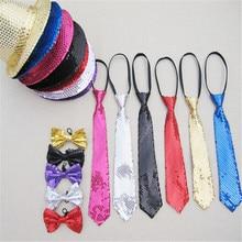 Шляпа+ галстук-бабочка 3в1 набор унисекс взрослых Bling Jazz шапки шляпа блесток Fedora шапки для мужчин и женщин уличный танцевальный костюм для вечеринки