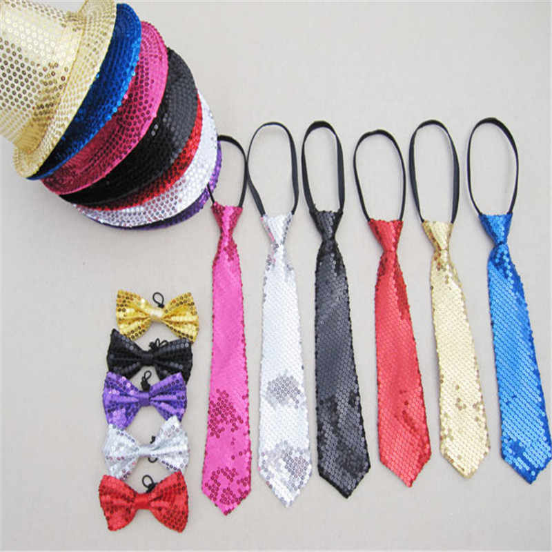 Hat + Tie + Bow Tie 3in1 Set Unisex Adult Bling Jazz Caps Hat Sequin Fedora Hats for Women Men Street Dance Party Costume