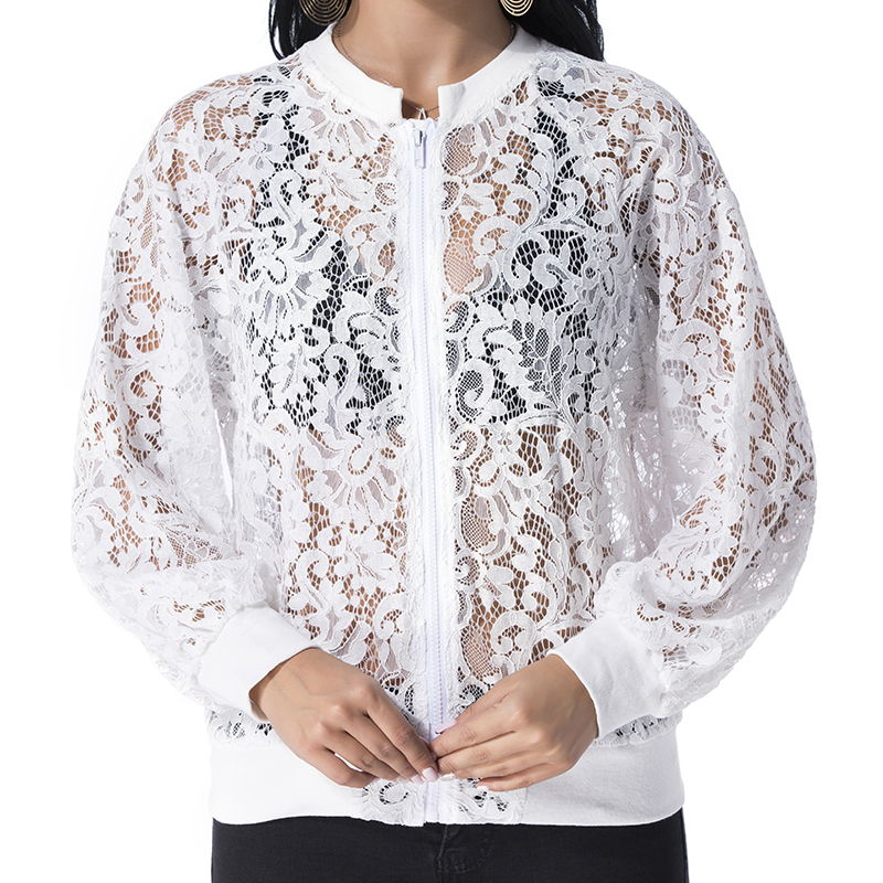 Women Lace   Basic     Jacket   Coat Elegant Autumn 2019 Casual Loose Long Sleeve Zippers Bomber Outwear Hollow Out Solid Tops Plus Size