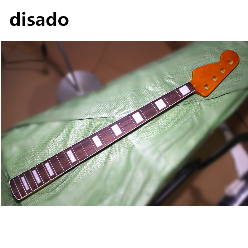 disado 20 frets reverse headstock maple electric bass guitar neck with rosewood fingerboard glossy paint guitar parts disado 24 frets inlay dots maple electric guitar neck maple fingerboard wood color black headstock guitar accessories parts