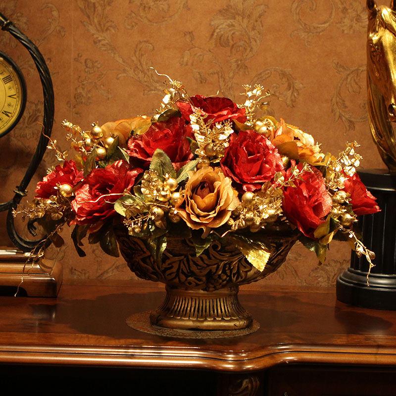 European Luxury Vase+Artificial Flower Set Ornament Desktop Resin Crafts Decoration Rose Potted Flower Arrangement Figurines Art