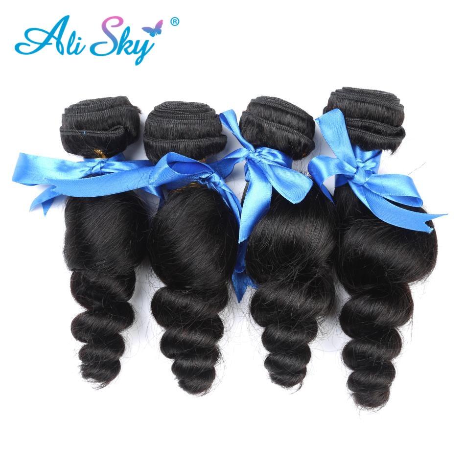 4 Bunldle Peruvian Loose Wave Hair Weave 100% Human Hair Bundles Non - Mänskligt hår (svart)