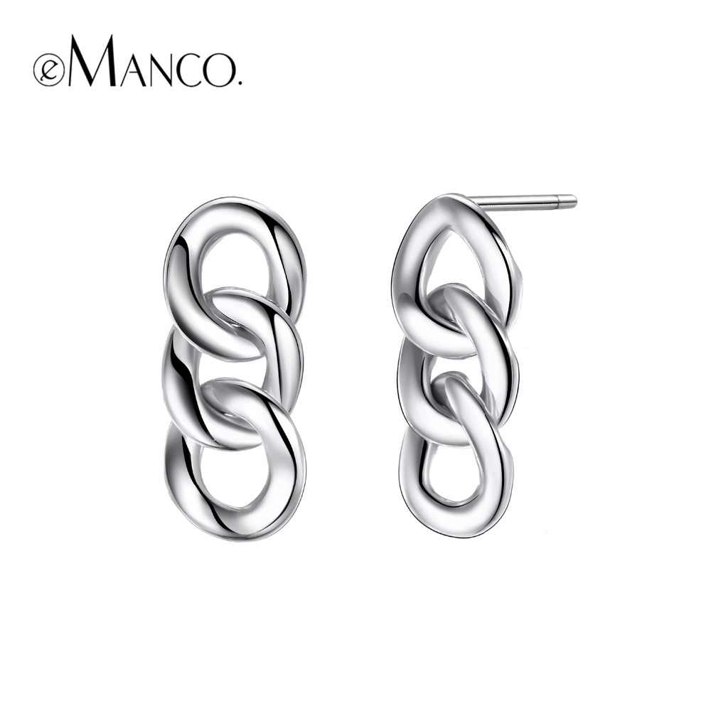 e-Manco 925 Sterling Silver Punk Chain Earrings Fashion Prevent Allergy Earrings New Arrival Wholesale Best Gift