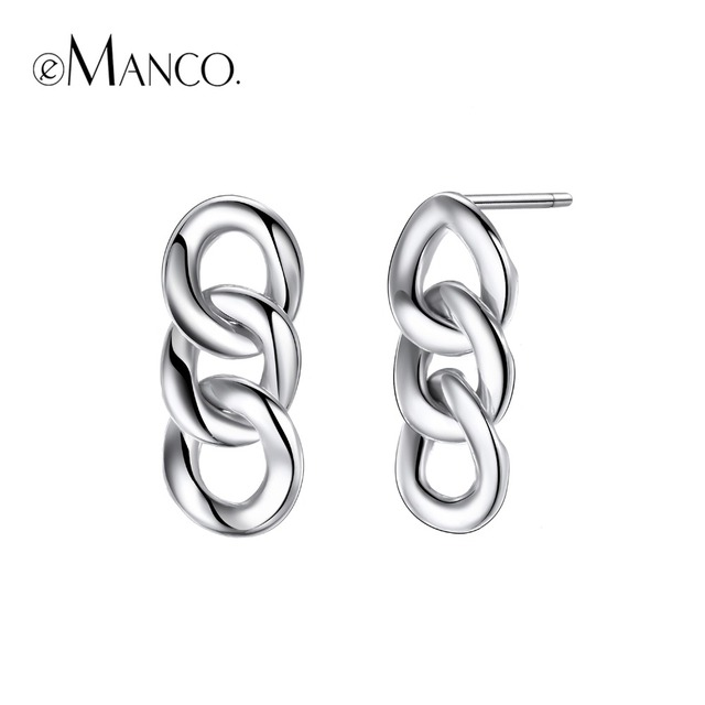 e-Manco 925 Sterling Silver Punk Chain Earrings Fashion Prevent Allergy Earrings