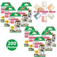 Оригинальный Fujifilm Instax Mini 8 мгновенных плёнки 200 Фотографии Документы белый рамка с силуэтом для Mini 9 50 s 70 90 камера SP 2 + Бесплатный альбом