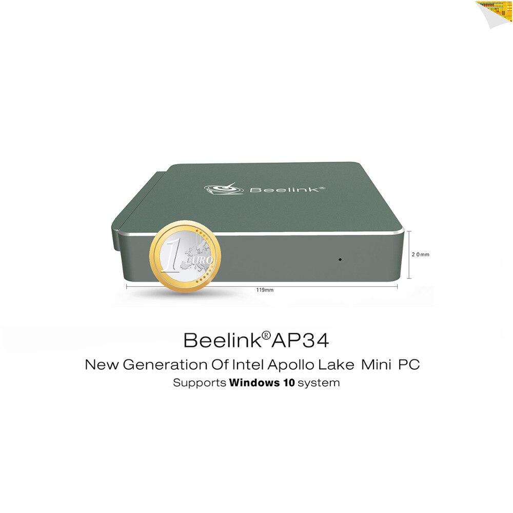 Beelink AP34 Intel Apollo N3450 Mini PC 4 г/64 г Bluetooth 4,0 USB 3,0 2,4 + 5,8 Г wi-Fi 4 К 1000Mbp/s Lan microsoft Windows 10 ТВ коробка