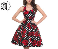 Ameision Women Summer Dress Elegant Vintage 50s 60s Polka Dot Belt Tunic Pinup Casual Lady Office Party A Line Ball Gown Dresses