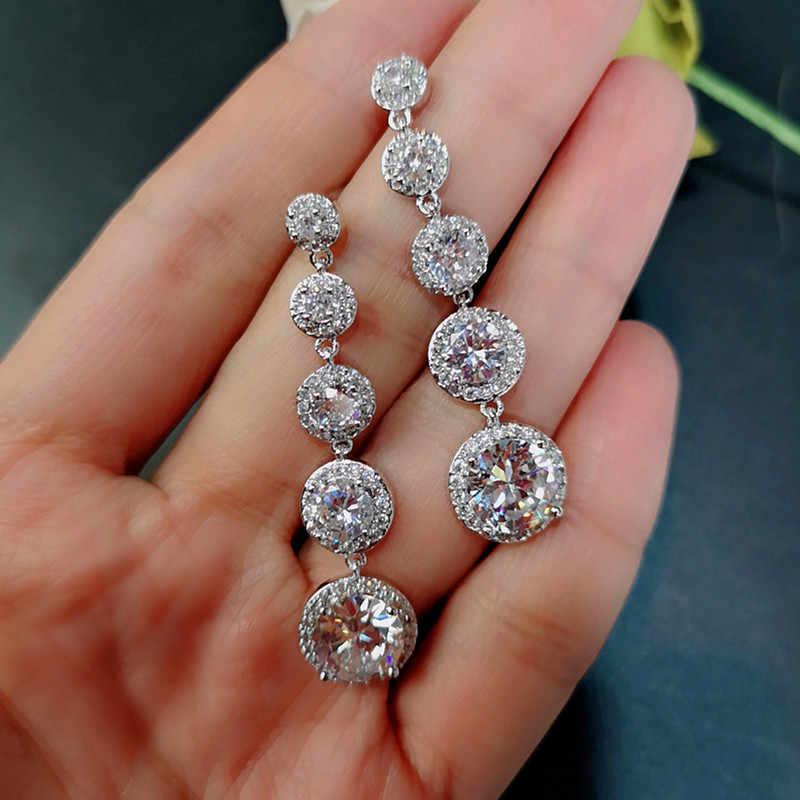 موضة أنثى كريستال إسقاط أقراط 925 فضة بوهو مجوهرات الزفاف AAA الزركون حجر طويل استرخى أقراط