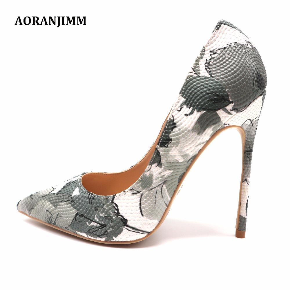 Free shipping hot sale grey white follower printed women lady adult 12cm 100mm high heel shoes