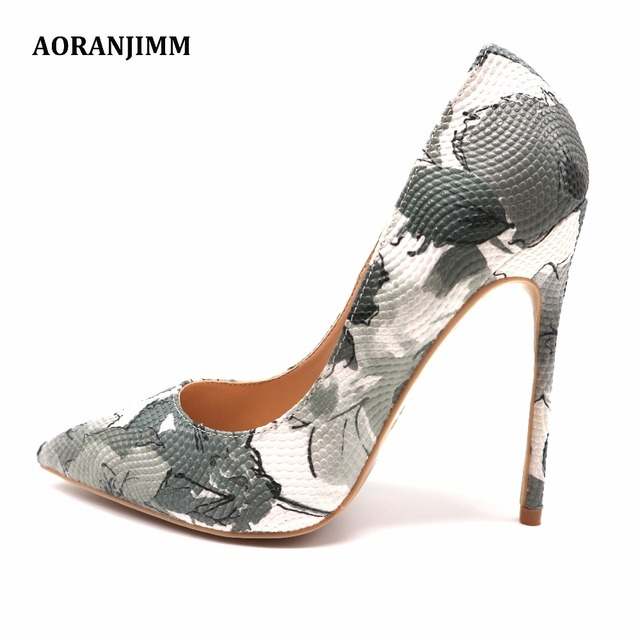 Free shipping hot sale grey white follower printed women lady adult 12cm  100mm high heel shoes pump sexy shoes on sale 141d1dc4489b