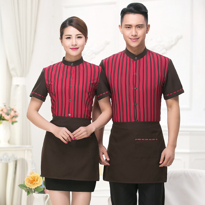 Hot Pot Shop Workwear Hotel Restaurant Waitress Female Short Sleeve Uniform Catering Coffee Shop Plus Size Waiter Overalls H2248