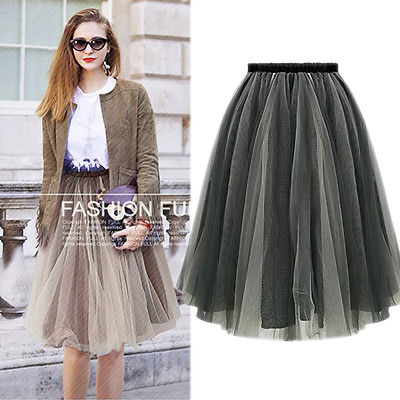 Women Summer Sexy Double Layer Cocktail Mesh Ball Gown Elastic Waist  Tutu Skirts