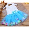 Mk 2017 meninas de verão vestidos de flores do laço da flor bowknot tule crianças baby girl dress crianças roupas meninas frete grátis d8941