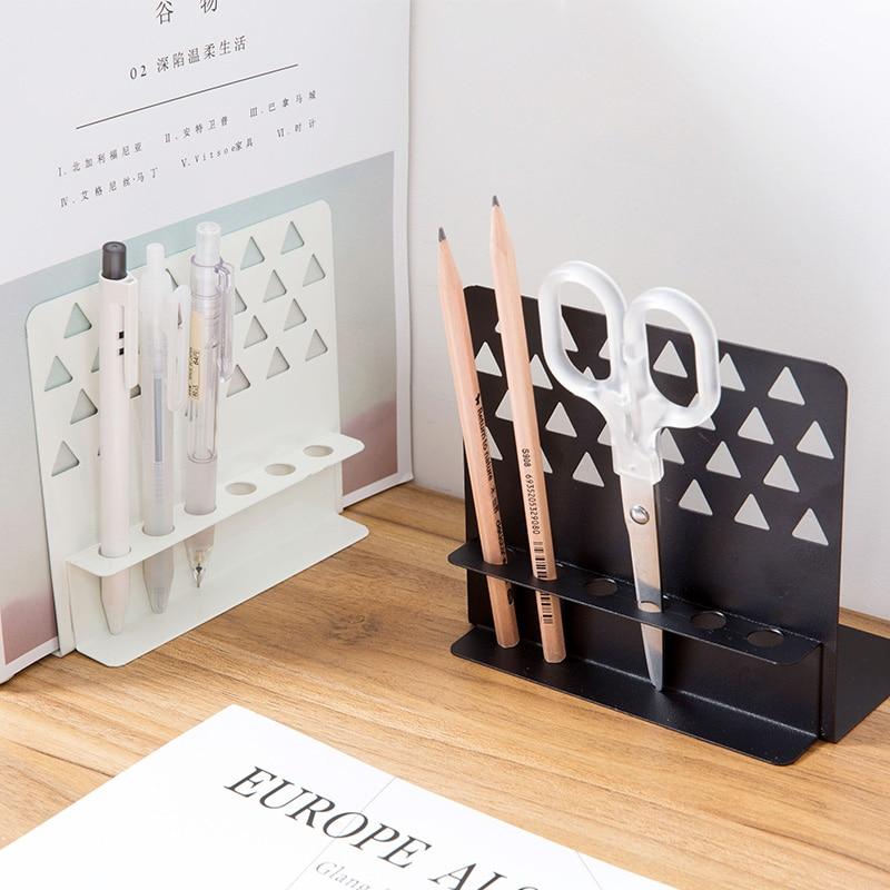 цена на Multifunctional Metal Black Bookends Pen Holder Desk Organizer Creative Book Stand 2pcs/set School Office Supplies