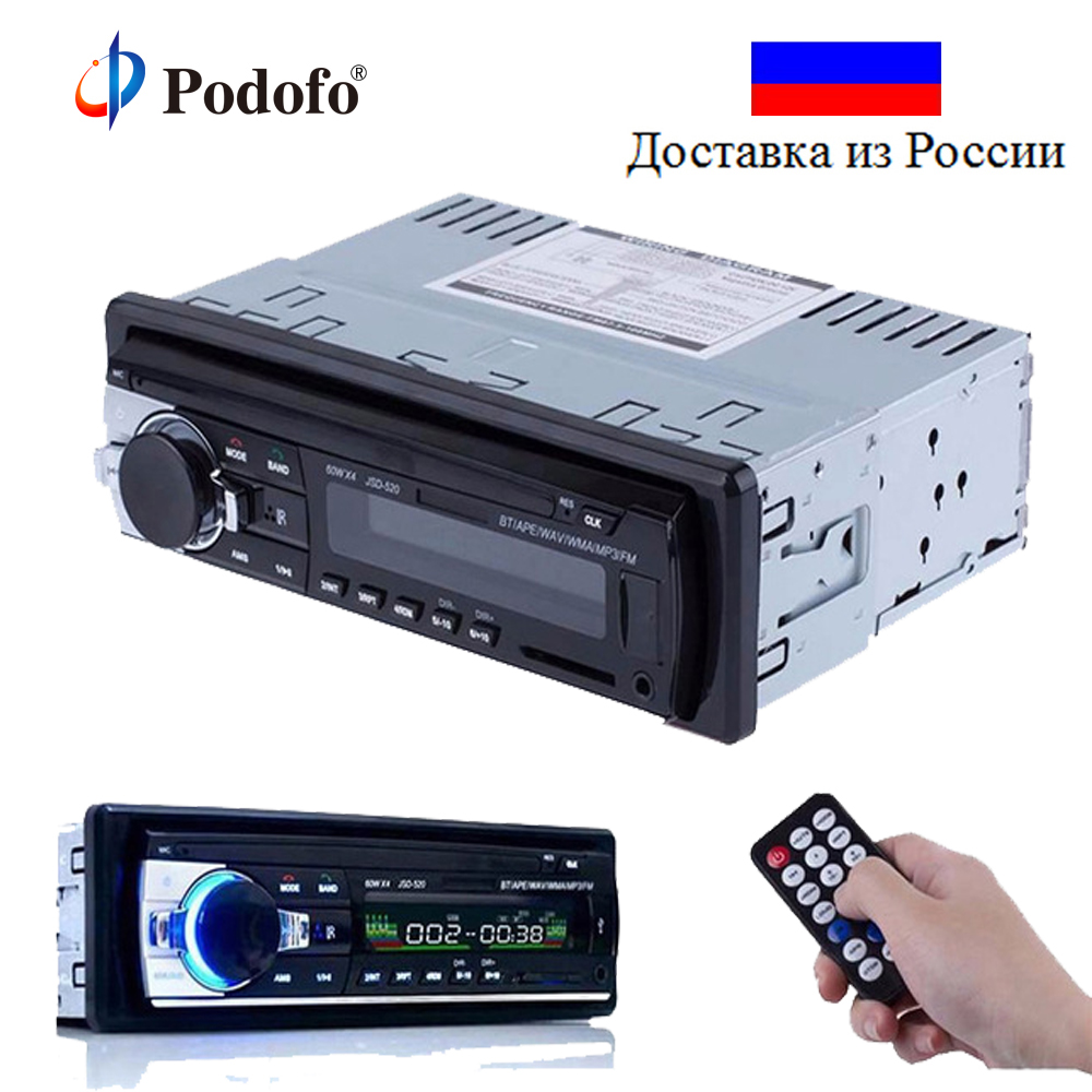 Autoradio Podofo Auto Radio-Player Bluetooth V2.0 JSD-520 12 V In-dash 1 Din AUX-IN MP3 FM SD USB Auto Stereo Multimedia Player
