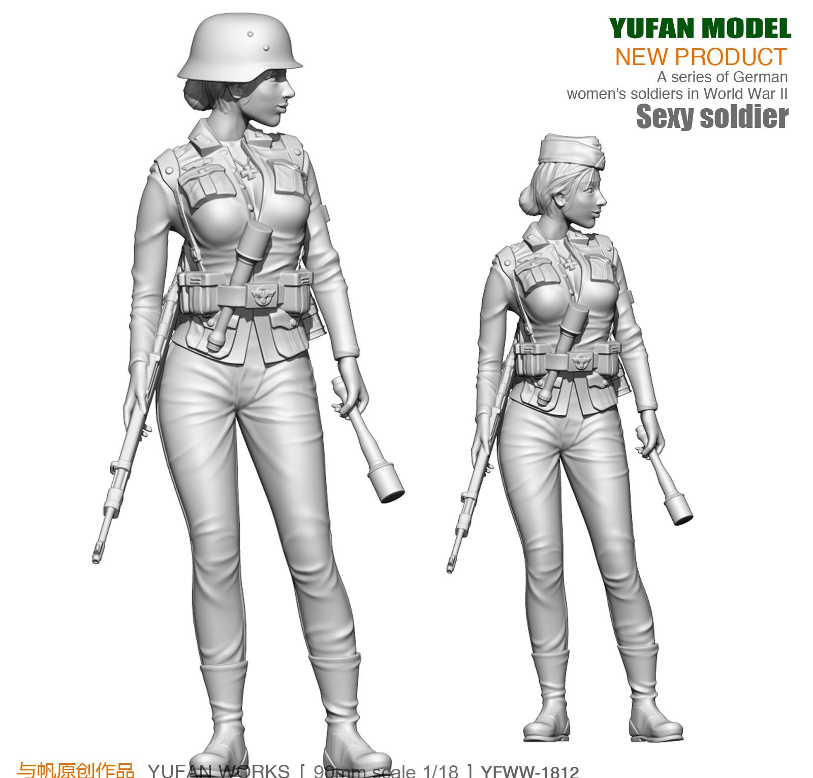 Yufan <font><b>Model</b></font> <font><b>1</b></font>/18 Figure <font><b>Model</b></font> Kit <font><b>German</b></font> Beauty Defense Force <font><b>Resin</b></font> Soldier YFWW-1812 image