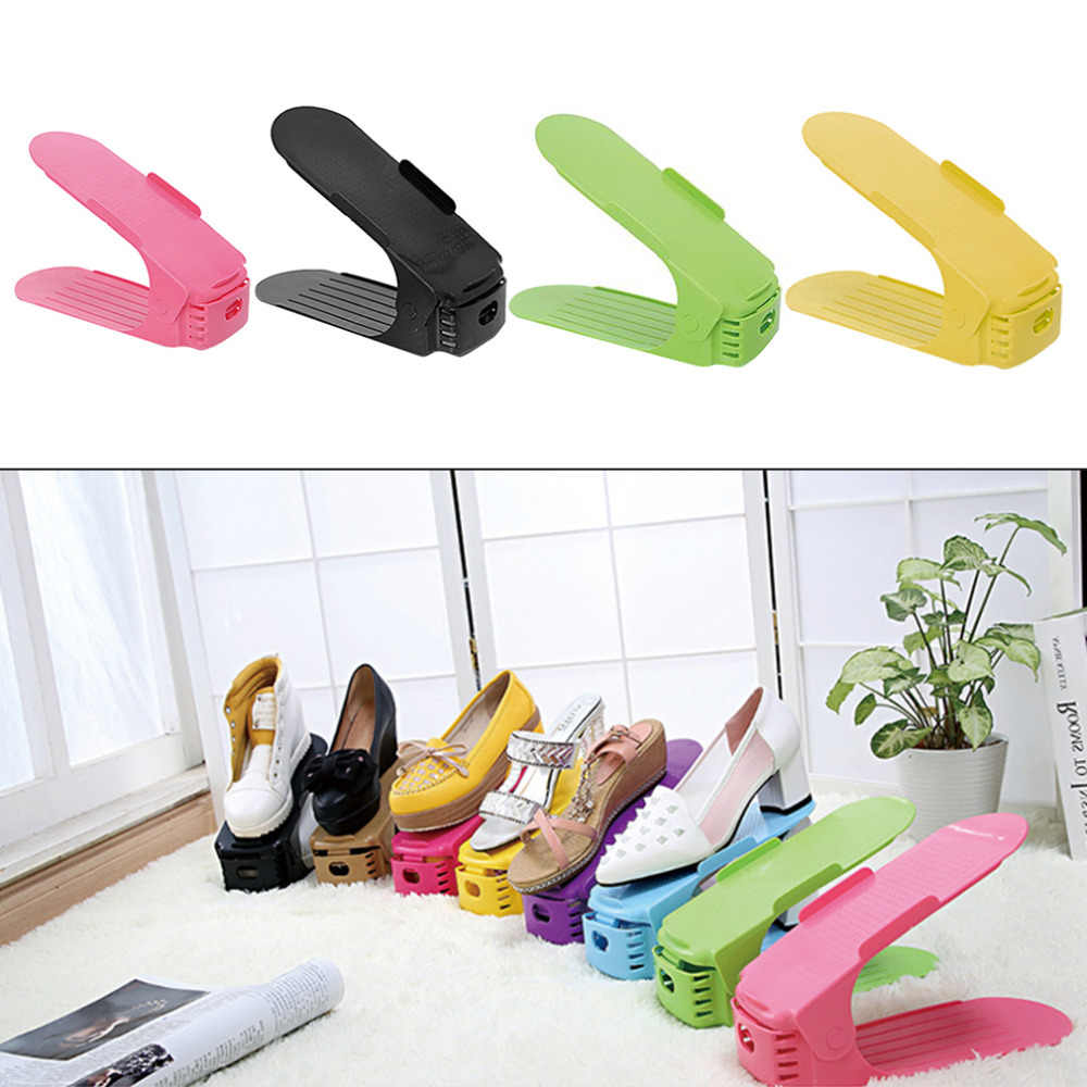 1PC Plastic Shoes Storage Rack Hanger Adjustable Shoe Organizer Holder Stand Shelf for Living Room Shoe Box Home Use Storage