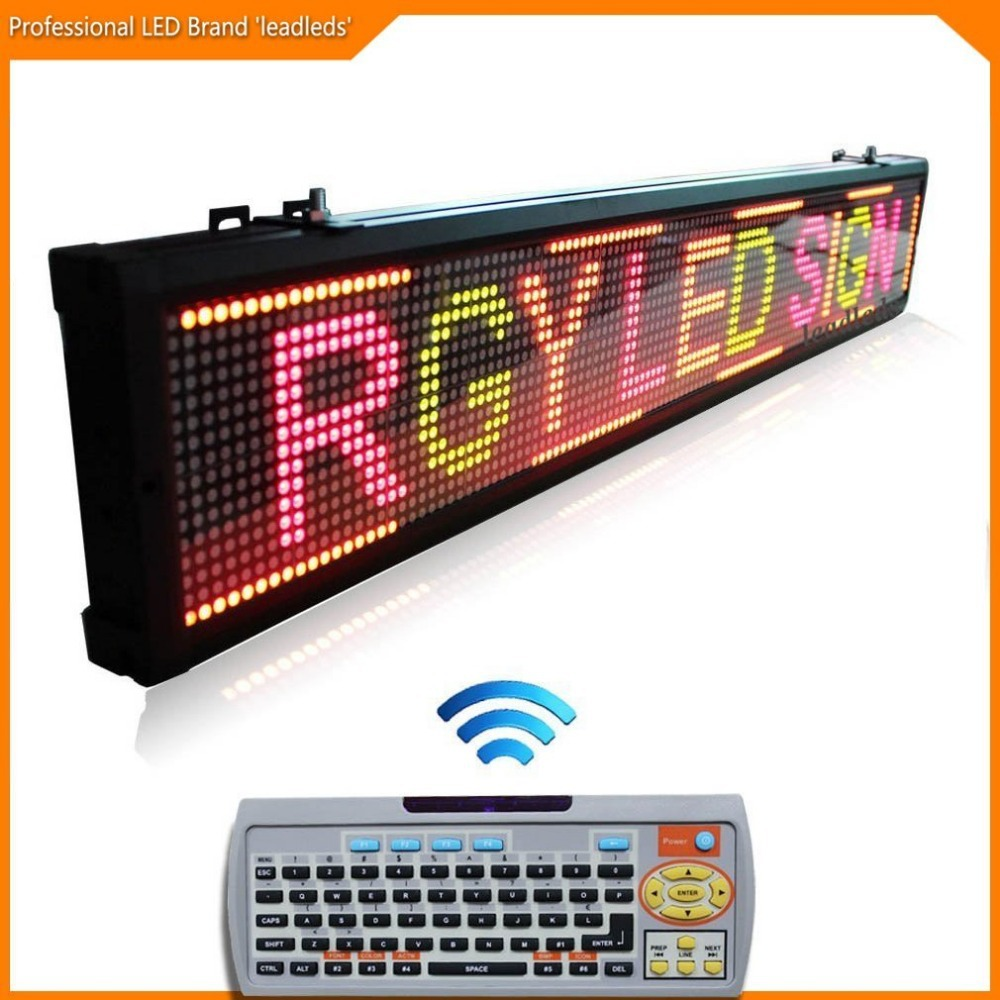 3 Color Remote Led Sign Programmable Message Board For Business Increasing- Red / Green / Amber Message, L 40 X H 6.3 Inches