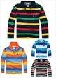 6 цветов воспользоваться Высокое качество Мальчики рубашки поло бренд детская рубашку с длинными рукавами теплые хлопковые Футболки 2-12 лет