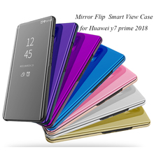 Mirror Flip Case For Huawei Y7 Prime 2018 Luxury Clear View PU Leather Cover Smart phone