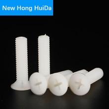 M8 White Nylon Flat Head Machine Screw Cross Recessed Phillips Metric Thread Countersunk Plastic Bolts