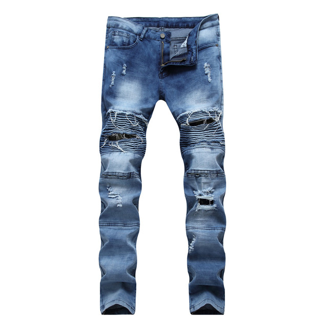 51e9ea884d8a 2017 Men Jeans Ripped Denim Pants With Holes Skinny Slim Fit Distressed  Biker Black White Blue