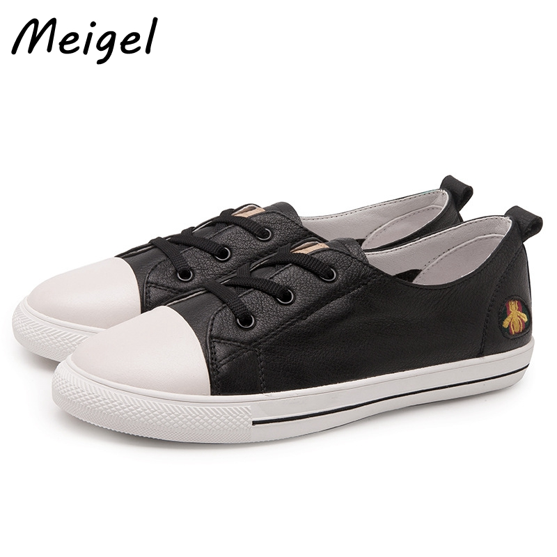 MEIGEL New Genuine Leather Women Shoe Embroide Bee Casual Shoes For Women Student Flat Shoes Ladies Lace up Zapatos Mujer 358 new mf8 eitan s star icosaix radiolarian puzzle magic cube black and primary limited edition very challenging welcome to buy