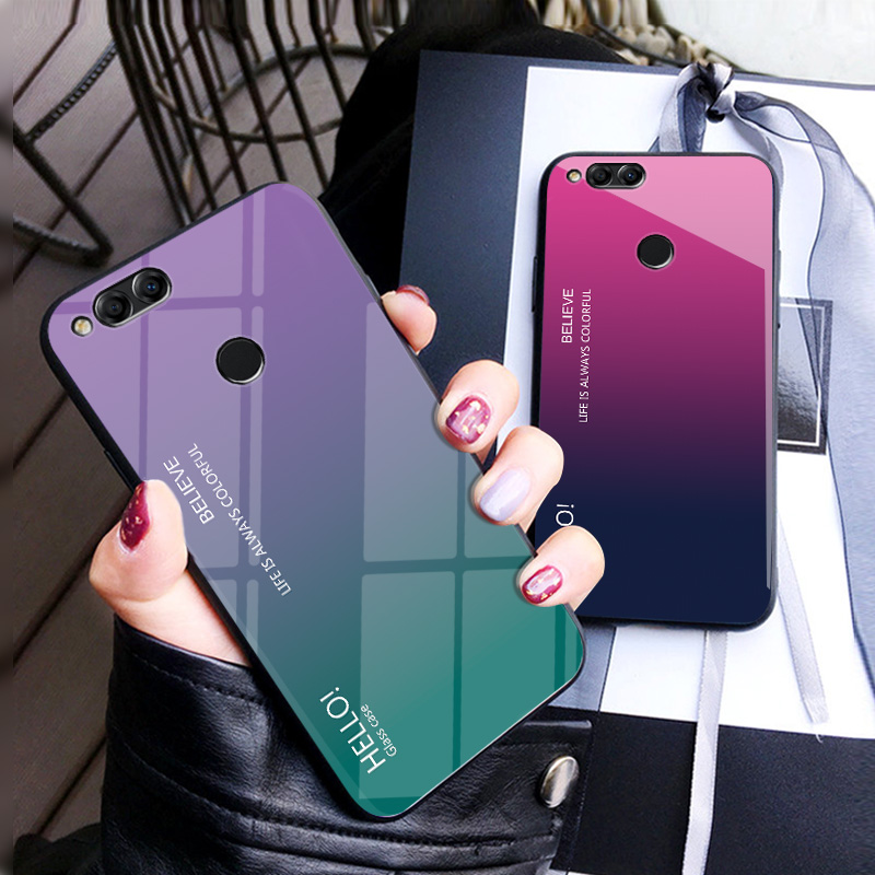 ᐂFor Huawei Honor 7X Case Luxury Hard Tempered Glass Gradient