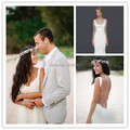 Sexy Backless Beach Wedding Dress 2015 Spaghetti Straps Draped Lacy See Through Casamento Vestido De Noiva Summer Bridal Gown