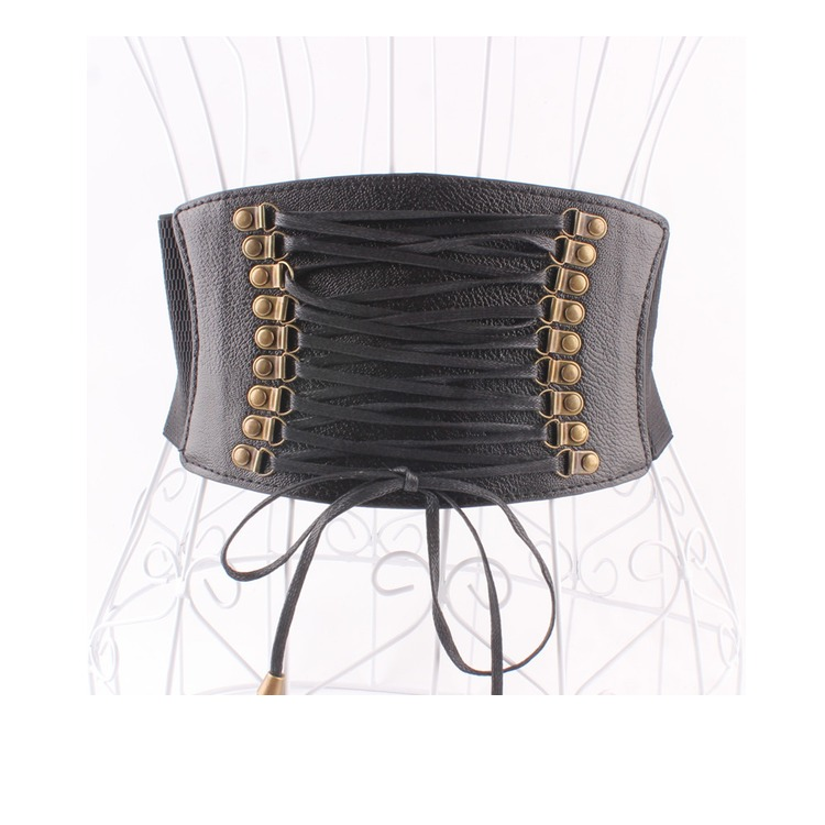 Women's Runway Fashion Elastic Vintage Cummerbunds Female Dress Coat Corsets Waistband Belts Decoration Wide Belt R1182