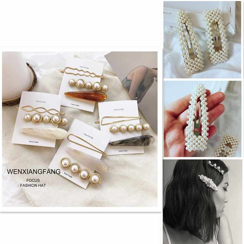 3Pcs/1Pc Lady Simple Hair Clips Combination Romantic Temperament Twist Pearl Side Alloy Clip Gift Hair Styling set Accessories