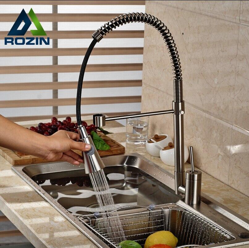 Deck Mount Rotation Black Hose Kitchen Sink Faucet Single Handle Kitchen Bar Mixer Taps