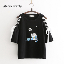 Merry Pretty Women Lace Up Cartoon Print T Shirts 2019 Summer Short Sleeve O-Neck Cotton T Shirt For Girl Cute Casual Tops Tees cute round neck short sleeve striped star print t shirt mini skirt twinset for girl
