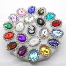 Новый 10 шт./компл. 20*25 мм Красочные овальной горный хрусталь кнопки Flatback кнопки кристалл для Букеты Свадебные Детская лента для волос декоративные