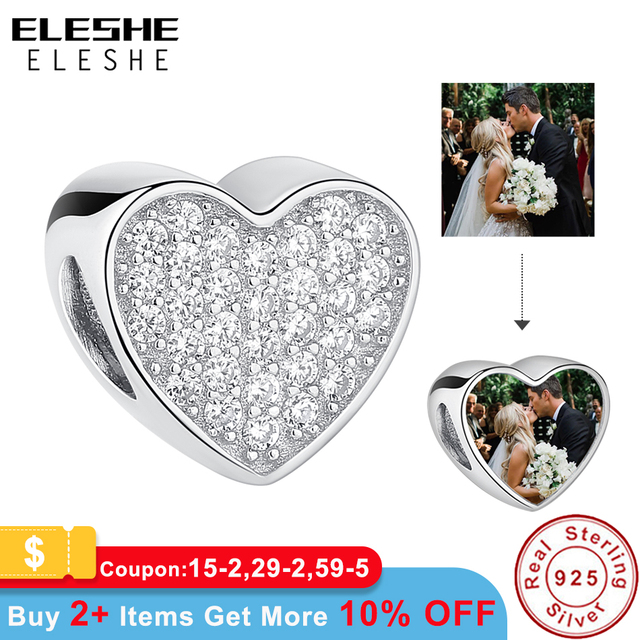 Personalized 925 Sterling Silver Custom Photo Beads Pave Cubic Zirconia Heart Charms Fit Pandora Bracelet Women DIY Jewelry 2018