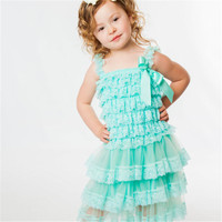 Lace Baby Girl Dress Summer Style Sleeveless Shoulderless Fluffy 3 Layer Flower Princess Pageant Party White