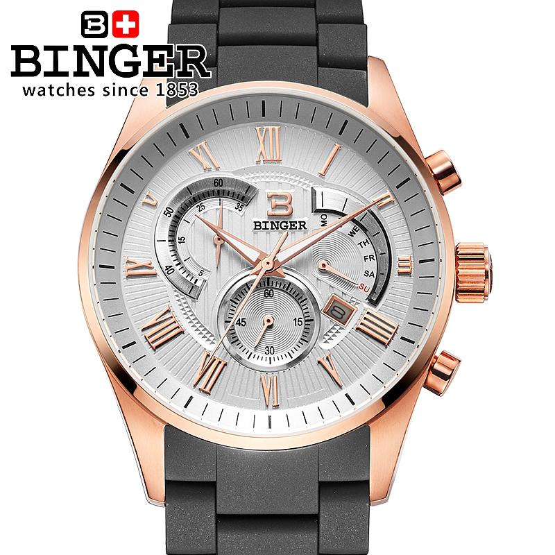 Switzerland men's watch luxury brand Wristwatches BINGER Quartz watch full stainless steel Chronograph Diver glowwatch BG-0407-4 switzerland men s watch luxury brand wristwatches binger quartz watch full stainless steel chronograph diver glowwatch bg 0407 4