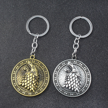 Game of Thrones Rotatable Keychains A Song Ice and Fire House Stark Winterfell Wolf Head Jewelry For Man Car
