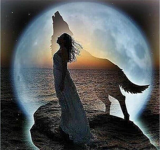 Nové diamantové mozaiky diamantové výšivky korálky Nebeský vlk Měsíc Žena sen diamanty kříž steh olejomalba Inlay ruční práce