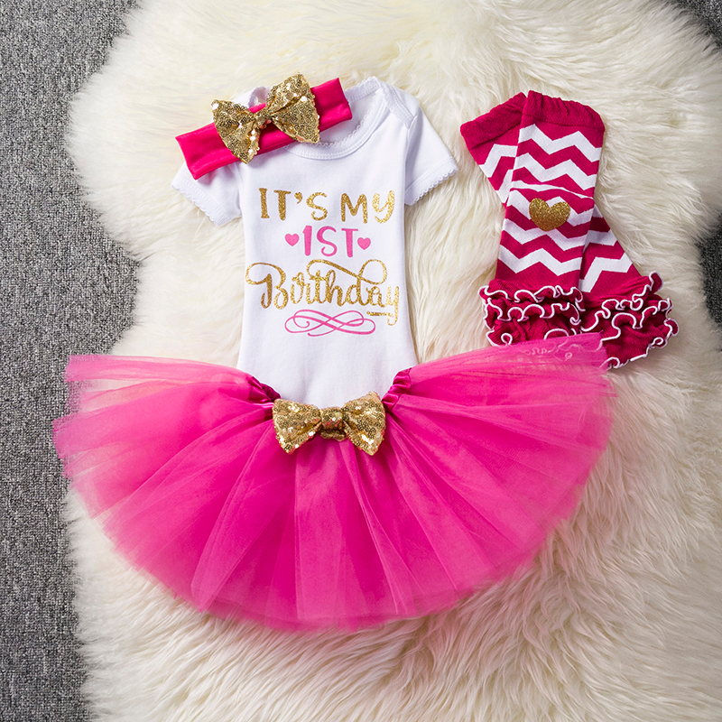 2018 Baby 1 Year Birthday Party Girl Clothes 3pcs Children Clothing Sets Cotton Rompers Ruffle Skirt Headband Newborn Tracksuit 4pcs sets baby girl clothes sets infant newborn clothing cotton rompers ruffle bloomers shoes headband ropa de bebes infantil