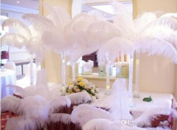 Wholesale 100 pcs/lot 12-14inch Gold black white ostrich feather plumes for wedding centerpiece festive party table supplies