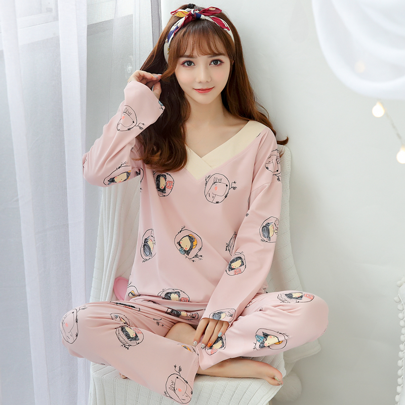 Long Pajama Set For Women Clothes 2019 spring Casual Long Sleeve cotton Nightwear Ladies sweet Round Neck Pajama Suit in Pajama Sets from Underwear Sleepwears