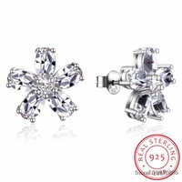 SMTCAT Crystals From Flower Stud Earrings Real S925 Silver Piercing Fine Jewelry For Women Wedding 2018 Christmas Gift