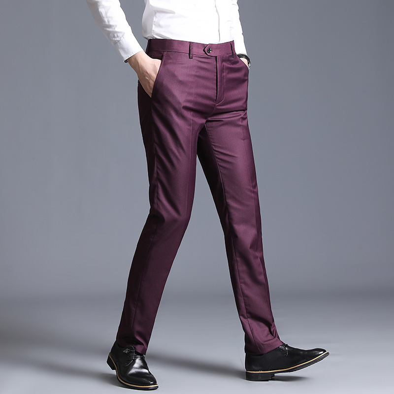 Pure Color Men's Dress Pants Size 29-38 Wedding Party Trousers Black Blue Red Gray Blue Male Pant 2019 New