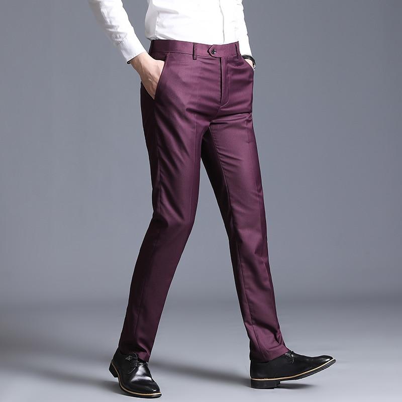 Pure Color Men's Dress Pants Size 29-38 Wedding Party Trousers Black Blue Red Gray Blue Male Pant 2019 New