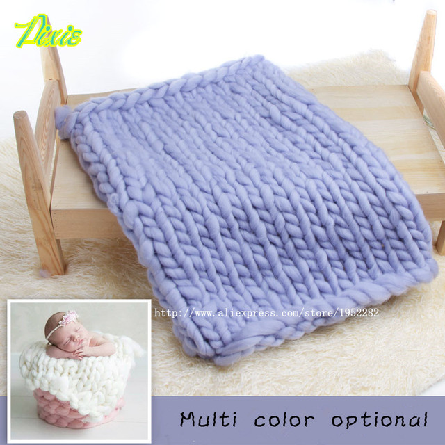 HOT!Crochet Knit Wool Rug Felt Blanket Background Photography Props Photographic Backdrops Newborn Props Basket Stuffer Photo