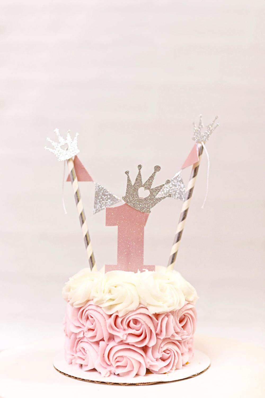 Fantastic 1Set First Birthday Princess Cake Topper Princess Party Smash Funny Birthday Cards Online Necthendildamsfinfo