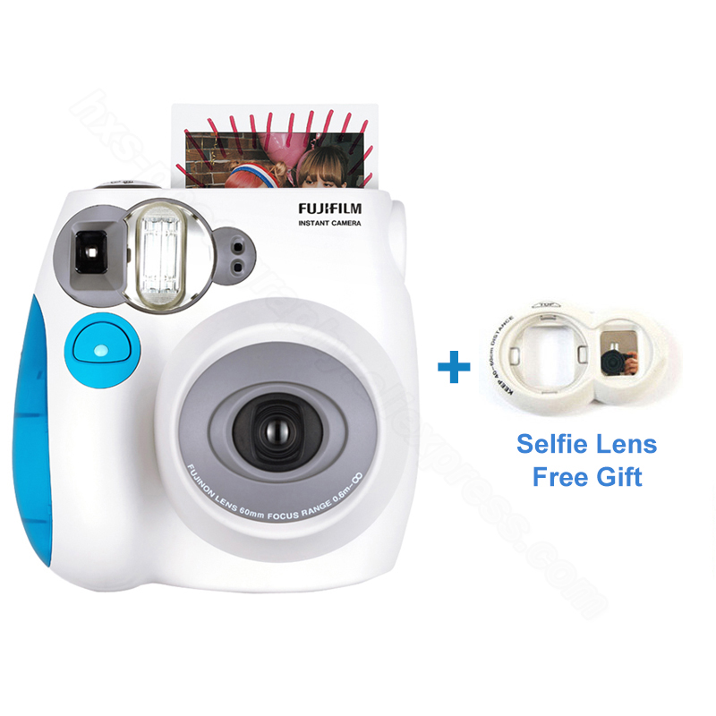 Подлинная Fujifilm Instax Mini 7 s мгновенное фото плёнки камера, принять пленка для Fuji Instax Mini Film, селфи объектив как бесплатный подарок