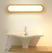 Modern Japanese Style Led Lamp Oak Wooden Wall Nordic Solid Wood Mirror Lights Sconce For Bedroom Bathroom